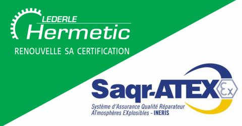 HERMETIC-Mecaflux renouvelle sa certification Saqr-ATEX